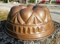Vintage 27cm Large Bundt Cake Jelly Pudding Copper Mold Tin Lining French Mould