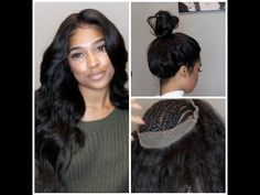 no glue, tape, or gel [video] - black hair information Sew In Hairstyles, Frontal Hairstyles, Wedding Hairstyles, Lace Front Wigs, Lace Wigs, Lace Front Sew In, Curly Hair Styles, Natural Hair Styles, 360 Lace Wig