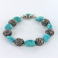 SLEEPING BEAUTY TURQUOISE STERLING GRANULATED BRACELET from New World Gems