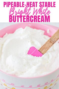 This bright white heat stable pipeable buttercream is perfect for those warmer days and for those cakes you want iced with super white frosting. This buttercream is also perfect for piping. #buttercream #whitebuttercream #pipeablebuttercream #heatstablebuttercream