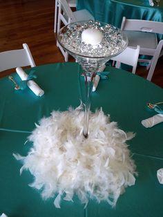 Martini Glass & Feathers Centerpiece Tiffany Blue theme www.idealpartydecorators.com