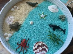 Sea Life Sensory Rice or Play set for tuff tray, sensory bin, sensory play -AQOTAS Sensory Toys Rainbow Rice, Tuff Spot, Tuff Tray, Homemade Playdough, Paper Packaging, Sensory Toys, Infant Activities, Octopus, Trays