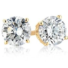 IGI Certified 14k Yellow Gold Round-Cut Diamond Studs (1 cttw, H-I Color, SI2-I1 Clarity)  http://electmejewellery.com/jewelry/earrings/igi-certified-14k-yellow-gold-roundcut-diamond-studs-1-cttw-hi-color-si2i1-clarity-com/