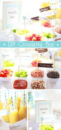 "Make Your Own Omelette Bar for a party! This was for an ""empty nesters"" party but would be perfect for a brunch party. It would be best if you had a counter top stove (a one-top) so people could cook up their omelette! Omelette Bar, Antipasto, Brunch Recipes, Breakfast Recipes, Brunch Ideas, Festa Party, Diy Party, Ideas Party, Bar Ideas"