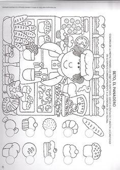 zoek en telblad de bakker Kindergarten Worksheets, Worksheets For Kids, Preschool Activities, Learning Centers, Kids Learning, Hidden Pictures, Picture Puzzles, Teaching Math, Pre School