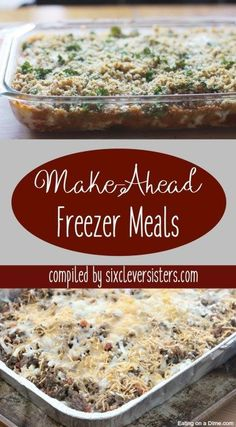 These Make-Ahead Freezer Meals will keep you ahead of the game! Easy prep to have meals ready in the freezer! meals make ahead easy Make-Ahead Freezer Meals - Six Clever Sisters Freeze Ahead Meals, Make Ahead Freezer Meals, Freezer Cooking, Frugal Meals, Freezer Recipes, Make Ahead Casseroles, Budget Recipes, Bulk Cooking, Dump Meals