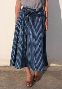 Midi Skirt in Indigo Stripes Print