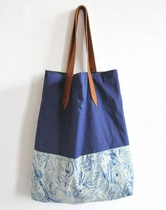 potipoti Shop - POTIPOTI SHOPPER BAG IN NAVY BLUE & PARROTS