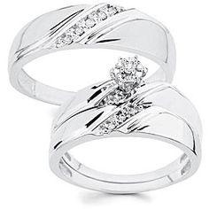vintage wedding rings 14K White Gold Diamond Vintage Wedding