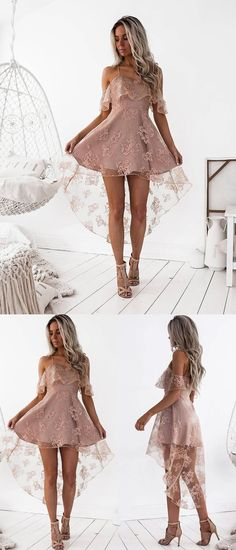 High Low Homecoming Dress Spaghetti Straps Asymmetrical Lace Sexy Short Prom Dress Party Dress JK457#homecomingdress #homecoming #shortdress #shortpromdress #partydress #party #prom   #fashion #style #dress #lace #lacehomecomingdress #laceshortdress #highlow #highlowdress