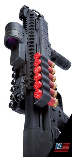 Kel-tec KSG 12ga pump shotgun, Mesa Tactical SureShell carrier, Trijicon RX30, vertical grip  Law Enforcement Today www.lawenforcementtoday.com