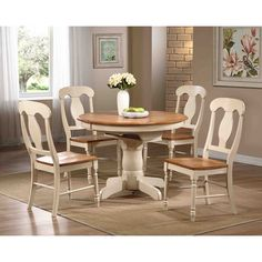 Iconic Furniture Company Antique Caramel/Biscotti Round Dining Set (Antique caramel/biscotti, two tone), Beige, Size Sets Pedestal Dining Table, Dining Room Sets, Extendable Dining Table, Dining Table In Kitchen, Kitchen Nook, Kitchen Chairs, Kitchen Art, Dining Area, Kitchen Ideas