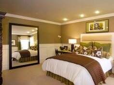 Decorating Master Bedroom Ideas - Green and brown bedroom. Would love to add wainscoting like this to our Jax house