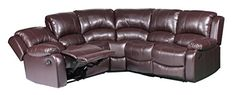 Large Classic and Traditional Bonded Leather Reclining Corner Sectional Sofa for Big Families Brown ** You can find more details by visiting the image link.Note:It is affiliate link to Amazon.