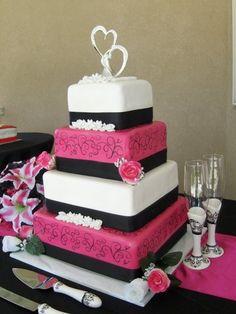 Pink, white, and black four tier wedding cake #DessertEdgeCakes #Budget #Utah see more at www.dessertedgecakes.com