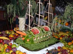 watermelon pirate ship  lots of beautiful carved watermelons on this page