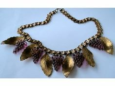 1930s Art Deco Glass Grapes Brass Leaves Chain Necklace | eBay