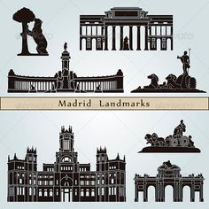 Madrid Landmarks and Monuments #GraphicRiver Madrid landmarks and monuments isolated on blue background in editable vector file Created: 23August13 GraphicsFilesIncluded: JPGImage #VectorEPS Layered: Yes MinimumAdobeCSVersion: CS Tags: Madrid #architecture #black #bluebackground #building #city #cityscape #destination #europe #icon #illustration #isolated #landmark #metropolis #monuments #outline #place #set #silhouette #skyline #skyscraper #spain #symbol #travel #urban #vector