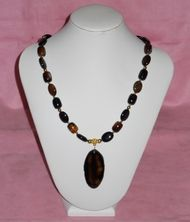 Lady Luck Gems- Brown/Black Agate necklace and earring set