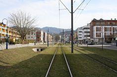 FREIBURG Green City / Germany: one part of main street ecoquarter Vauban (no cars allowed)