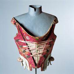 Ancient corset - Mieder,  um 1780    Seide, Ripsband, Leinen, Leder, Silberhaken, Schnürband ergänzt
