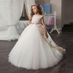 DF906 Pricess Estilo Del vestido de Bola Vestidos de Niña Elegante Con Encaje Vestidos de Primera Comunión Para Niñas Niños vestido de Fiesta de Cumpleaños