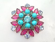 Vintage Juliana D&E Fuchsia Turquoise by TheOldJunkTrunk on Etsy