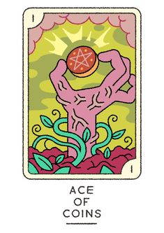 It's tarot tuesday! Sparrow Art, Ace Of Pentacles, Game Card Design, Hand Drawing Reference, Doodle Art Drawing, Cool Monsters, Oracle Tarot, Art Journal Inspiration, Illustrations And Posters