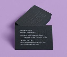Business cards with a blind emboss and white ink detail designed by Well Made studio. #Design #Emboss #Print #Branding