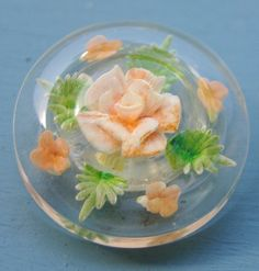 Beautiful Vintage Lucite Button Reverse Carved  by ButtonBroker, $16.00