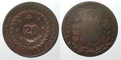 1835 Brasilien BRAZIL 20 Reis ND(1835) on 40 Reis 1824 R PEDRO I copper VF #… Brazil, Personalized Items, Copper, Rice