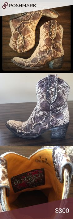 BadA*s Old Gringo Boots with Swarovski Crystals Womens Old Gringo Easton Python Boots  Chocolate And White #L719-3 Like a Rhinestone Cowgirl!   Worn- only a bit on the sole. They were slippery when I first got them, so I wanted to toughen up the sole so I didn't slip.  Perfect 7.5 fit. Super easy to get on and off. Old Gringo Shoes Ankle Boots & Booties