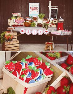 Best garden party theme farmers market Ideas The summer is particul. Best garden party the Farm Birthday, First Birthday Parties, Birthday Party Themes, First Birthdays, Birthday Ideas, Themed Parties, Strawberry Shortcake Party, Strawberry Cookies, Blueberry Cookies