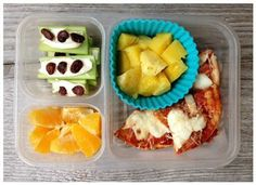 """this is what my girls got: Pita pizza (served cold), oranges, """"ants on a log"""" (with cream cheese), and pineapple. The plan suggested cantaloupe, but we just had that last week so I made a little substitution. Once again I enjoyed not having to put much thought into what to pack...that's always the hardest part for me!"""