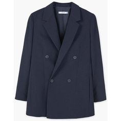 MANGO Double-breasted blazer (¥13,365) ❤ liked on Polyvore featuring outerwear, jackets, blazers, double breasted jacket, peak lapel blazer, long sleeve blazer, peaked lapel blazer and button jacket