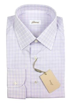 BRIONI Purple White Plaid Cotton Spread Collar Dress Shirt     Find yours! http://www.frieschskys.com/all-shirts/dress-shirts     #frieschskys #mensfashion #fashion #mensstyle #style #moda #menswear #dapper #stylish #MadeInItaly #Italy #couture #highfashion #designer #shopping