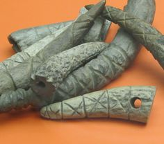 Rune carvings on antlers from Yorkshire Museum.