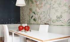 Modern chinoiserie 'Esperanto' design from Misha wallpaper, hand painted on Pearl Grey dyed silk.