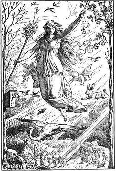 Die Göttin Ostara fliegt durch den Himmel während sie von Putten und Tieren umgeben ist. Lichtstrahlen säumen ihren Weg. Das Reich der Erde schaut hinauf und feiert ein Fest zu ihren Ehren.