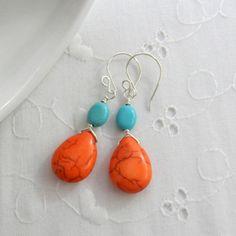 Turquoise blue and orange earrings summer by JulieEllisDesigns