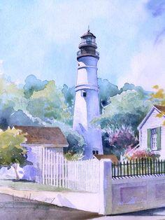 Key West Lighthouse . watercolor illustration