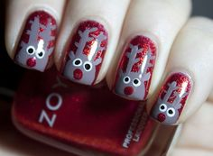 Reindeer make for festive holiday nails
