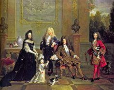 El rey Luis XIV con su hijo Luis, Gran Delfín, su nieto, el duque de Borgoña y su bisnieto, el duque de Bretaña.