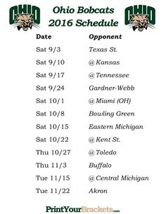 Printable 2016 Ohio Bobcats Football Schedule