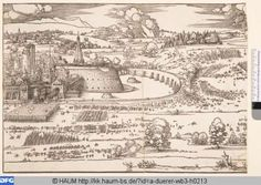 1527 Albrect Dürer - Seige of a Fortress.  Virtuelles Kupferstichkabinett has a very nice zoom feature.