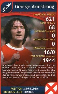 2009 Top Trumps Specials Arsenal #NNO14 George Armstrong Front
