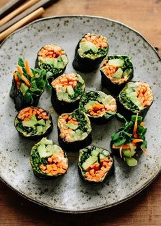 Veggie Nori Rolls by thekitchn: With their crunchy meets cream texture and big bright flavors, these are super filling but light and healthy. Great for weight loss. #Nori_Rolls #Veggie #Healthy #Light