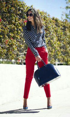 Pantalon Rojo azul
