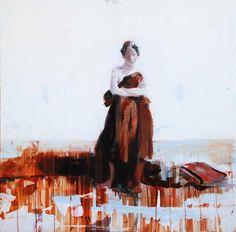 """Alex Kanevsky """"J.F.H. as an Island""""   36 x 36 oil on wood"""