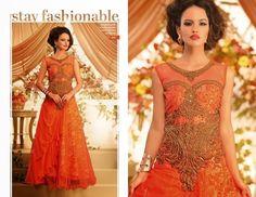 Code: eleg orange Price: pls inbox/whatsapp Material:Semi-stitched/georgette.